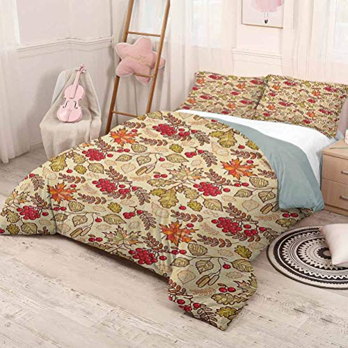HELLOLEON (King) Rowan 3-Pack (1 Duvet Cover and 2 Pillowcases) Bedding Fall Season Themed Mixed Pattern with Maple Birch Oak Autumn Leaves and Ashberries Polyester Multicolor