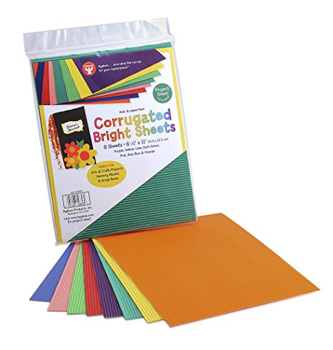 """Hygloss Products Corrugated Cardboard in Assorted Colors - 8.5"""" x 11"""" Inches Corrugated Bright Sheets - 8 Sheets per Pack"""