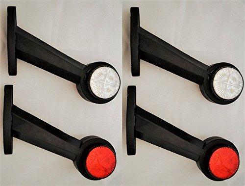Lot de 4 feux de position latéraux à LED 12 V pour camion, châssis, caravane, camping-car, rouge et blanc