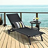 <span class='highlight'><span class='highlight'>COSTWAY</span></span> Sun Lounger with Wheels, 6 Positions Adjustable Aluminium Frame Deck Chaise Bed, Outdoor Indoor Reclining Chairs for Garden Patio Beach