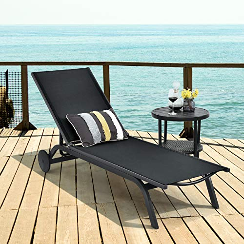 COSTWAY Sun Lounger with Wheels, 6 Positions Adjustable Aluminium Frame Deck Chaise Bed, Outdoor Indoor Reclining Chairs for Garden Patio Beach
