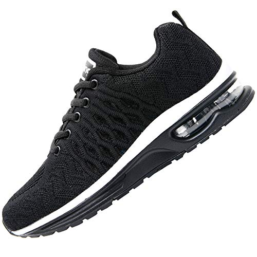 JARLIF Women's Breathable Running Shoes Fashion Athletic Sport Gym Jogging Walking Air Tennis Sneakers Black US 6 B(M)