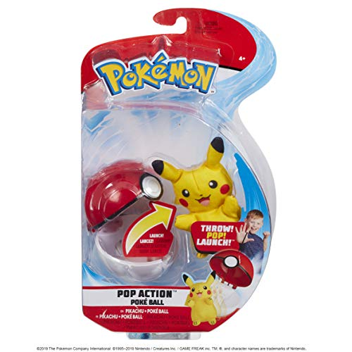Pokemon Pop Action Poké Ball Launcher, Comes with Launching Pikachu Mini-Plush & Poke Ball - Flies up to 10ft into Battle Action