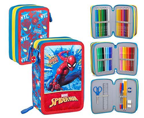 Spiderman 41434 Astuccio Triplo Riempito, 44 Accessori Scuola, 20 Centimetri