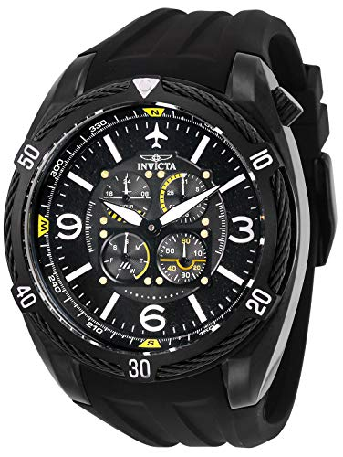 Invicta 28078 Aviator Reloj para Hombre acero inoxidable Cuarzo Esfera negro