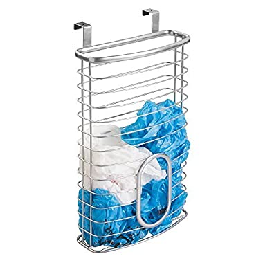 mDesign Over Cabinet Kitchen Storage Organizer Holder or Basket – Hang Over Cabinet Doors in Kitchen/Pantry - Holds up to 50 Plastic Shopping Bags - Solid Steel Wire in Silver Finish