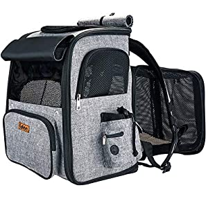 IDEE Expandable Pet Carrier backpack,Dog Backpack Carrier,Cat Backpack Carrier Mesh Breathable with transparent window,for small dog,cat,rabbit Hiking Biking Camping Travel and Outdoor Use,Up To 20lbs