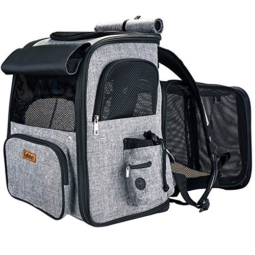 IDEE Expandable Pet Carrier Backpack,Dog Backpack Carrier,Cat Backpack Carrier Mesh Breathable with Transparent Window,for Small Dog,cat,Rabbit Hiking Biking Camping Travel and Outdoor Use,Up to 20lb