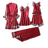 Burgudny Mujeres 5 Piezas Pijamas Conjuntos Rayón Pijamas Mujeres Ropa De Dormir Verano Pijamas Femenino