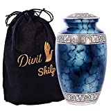 D S Cremation Urn for Human Ashes with Velvet Bag, for Adults up to 100 kgs, Funeral Urns by Divit Shilp (Blue, Adult)