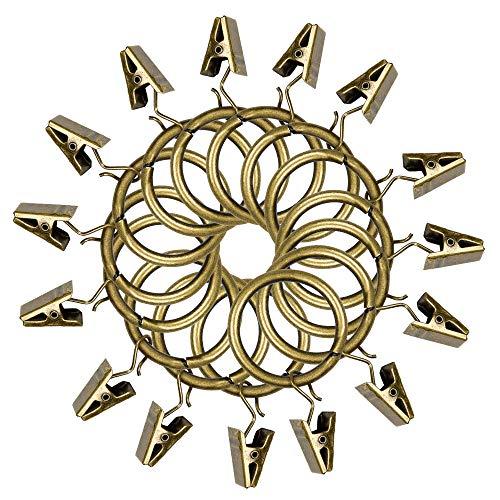 Sopito 15 Pack Vorhangringe mit Clips, Rostbeständig Vorhangringe Dekorativ Vorhang Ringe, 1,18 Zoll Innendurchmesser, Bronze