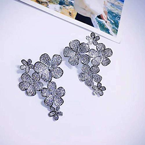 BAJIE Earring Fashion Silver Small Cz Blue Multi-Flower Earrings For Women
