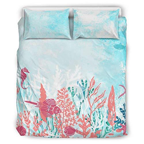 Vrnceit Ozean Coral fein gedruckt Tagesdecken-Set Bettwäsche-Set Easy Fit für Schlafzimmer White 168x229cm
