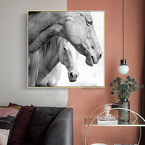 Arte de pared moderno pintura en lienzo carteles e impresiones de animales cuadros de pared de caballos blancos y negros para la decoración del hogar de la sala de estar Quadro 40x40 CM (sin m