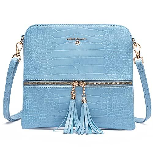 Bolso bandolera de piel ligera y mediana para mujer, con bolsillo con cremallera y correa ajustable, Azul / Patchwork, Medium Crossbody Bag