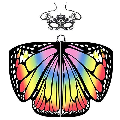 Damen Schmetterling Kostüm + Maske Schmetterlings Flügel feenhafte Erwachsene Poncho Umhang Damen Pixie Halloween Weihnachten Cosplay Kostüm Zusatz Karneval Fasching