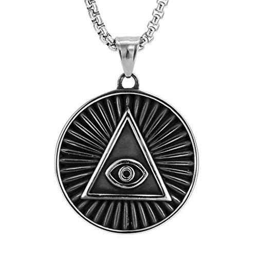 joyMerit Ojo Que Todo Lo Ve de La Providencia Colgante Amuleto Amuleto de La Suerte Collar Joyería
