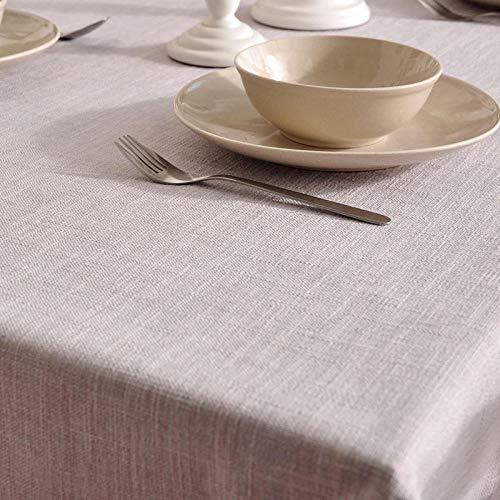 QKEMM Mantel de Mesa Rectangular para Cocina Lino de Algodón Grueso y Duradero Simple Uso Interior y Al Aire para Jardín Habitaciones Gris 140×220cm