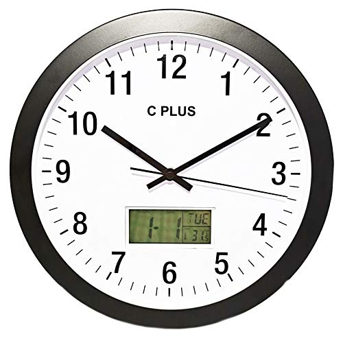 C Plus Wall Clock Non Ticking Silent Battery Operated 12 Inch Quiet Sweep Quartz Movement Modern Home Decor with Temperature Date Time Week Large Numbers Easy to Read Round Room Thermometer Black