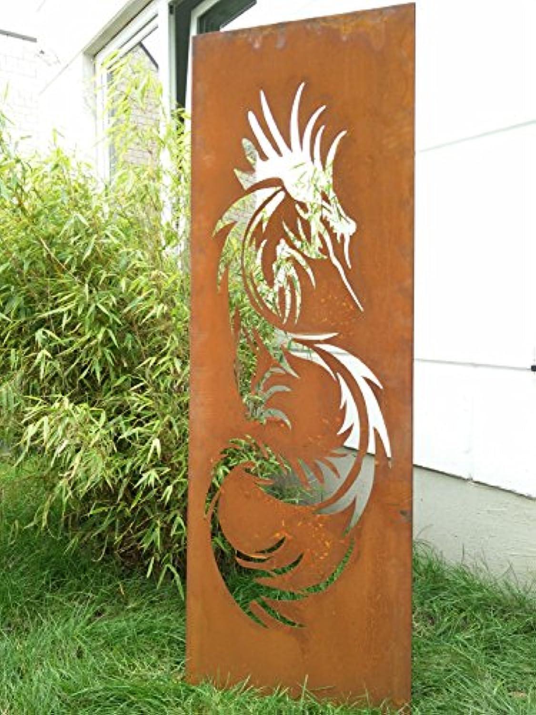 Garten Sichtschutz aus Metall Rost Gartenzaun Gartendeko edelrost Sichtschutzwand 031642 150502cm