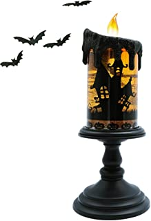 DRomance Halloween Snow Globe Lighted Flameless Candles, Battery Operated Water Glittering Tornado Lamp Halloween Candles Decoration(10 Inches, Bat Decal)