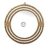Hind Handicrafts Espejo de pared de cuerda envuelta redonda, espejo de cuerda marítima, espejo rústico para baño, entrada,...