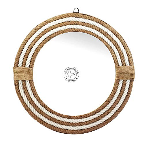 Hind Handicrafts Espejo de pared de cuerda redonda envuelta – Espejo acentuado de cuerda marítima, espejo rústico para baño, entrada, comedor y sala de estar (16 pulgadas)