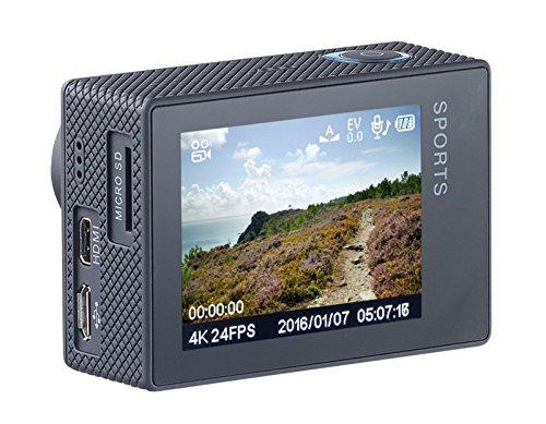 Somikon 4K-Actioncam: 4K-Action-Cam für UHD-Videos, 2 Displays, WLAN, 16MP-Sony-Sensor IP68 (Webcam mit Mikrofon)