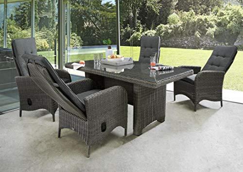 Destiny Palma Luna Sitzgruppe Vintage Grau Tisch 200x100 Loungegruppe Hochlehner