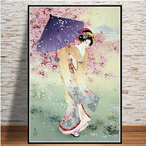Cuadro En Lienzo,Geisha Mujer Japonesa Bajo El Cerezo Ukiyo-E Non-Woven Carteles Murales Arte Abstracto,Imagen 3D Pared Vertical Pintar Ilustraciones Dormitorio Decoraciones Home Office,20Cm*30Cm Sin