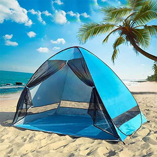 Strandmuschel, Extra Light Automatisches Strandzelt Mit Reißverschlusstür Und UV-Schutz, Familien Portable Beach Zelt In Blau, Outdoor Tragbar Wurfzelt