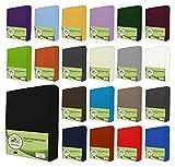 leevitex Jersey Spannbettlaken, Spannbetttuch 100% Baumwolle in vielen Größen und Farben MARKENQUALITÄT ÖKOTEX Standard 100 | 120x200 cm - Schwarz