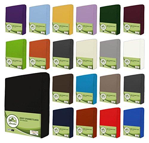 leevitex® Jersey Spannbettlaken, Spannbetttuch 100% Baumwolle in vielen Größen und Farben MARKENQUALITÄT ÖKOTEX Standard 100 | 120x200 cm - Schwarz