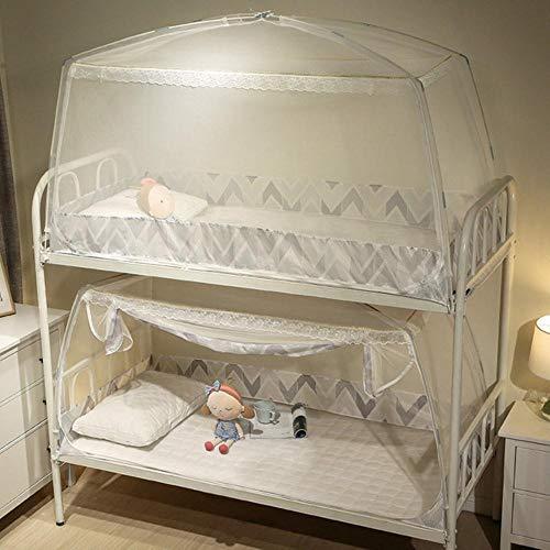 Mingi 1 Stück 0,9 m Moskitonetz für Studenten im Schlafsaal Etagenbett Kinder kleines Bett Mongolische Jurte Moskitonetz Mit Spitzendekor, Grau, ca. 90x195x95cm