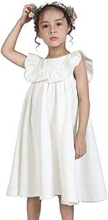 Girls Dress Ruffle Cotton Sleeveless Pleated Princess Empire Waist A Line Casual Dress, 2-10T