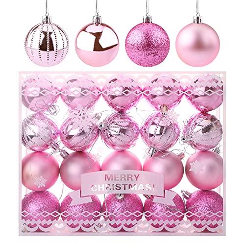 20pz Palline di Natale Rosa 6 cm Ornamenti con palline di Natale Palle di Natale infrangibili Opaco Glitter Lucido Palline di decorazioni per l'albero Palla Natale da appendere per matrimonio festival