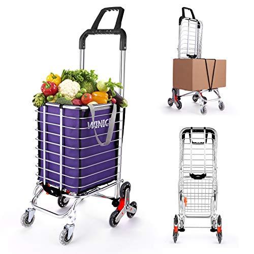 Stair Climb zusammenklappbarer Einkaufswagen Tragbarer klappbarer Handwagen mit Abnehmbarer Oxford-Einkaufstasche und Bungee-Kabel für Zuhause, Büro