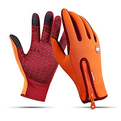 Ytuomzi Winter Gloves Touch Screen Warm Gloves Cold Weather Windproof Cycling Driving Riding Bike Telefingers Thermal Gloves Non-Slip Silicone Gel Adjustable Full Finger Mittens (Orange, X-Large)