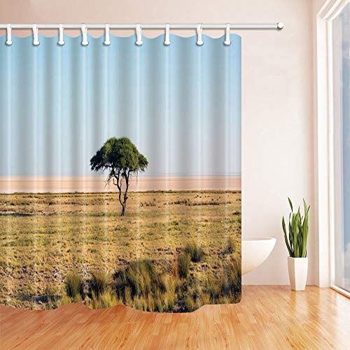 NJMRZX Nature Scenery Shower Curtains for Bathroom,Lonely Tree Grows on the Prairie Polyester Fabric Waterproof Bath Curtain Shower Curtain Hooks Included 71X71in