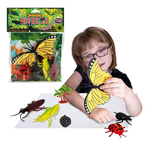 Jumbo Playset - Insectos de Deluxebase. Set de Juego con Figuras de animalitos. Bolsa de Insectos y bichos de Juguete Grandes, Incluye Mariposas y bichos. Set de Insectos de Juguete para niños