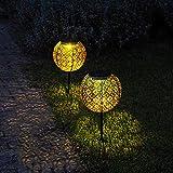 Gadgy Solarkugel | Set von 2 Stück | LED Solarlichter für Außen | Gartenweg und Terassen Dekoration | Gold & Schwarz Metall | Outdoor Gartendeko und Terassendeko