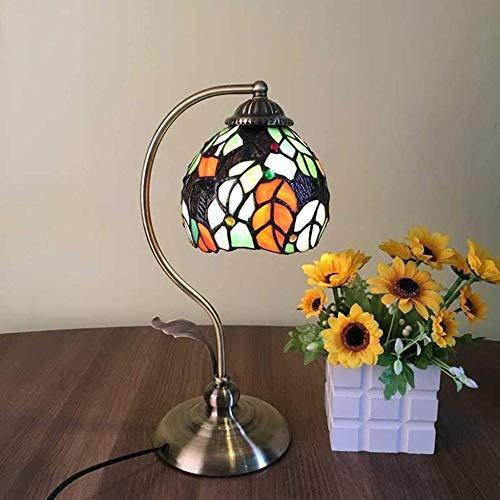 Lámpara de mesa mediterránea de cristal teñido, lámpara de estudio de arte cálido como regalo de cumpleaños para hombres y mujeres-L