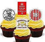 Decoraciones comestibles para tartas para tarta de cumpleaños 18 de hombre, Pack de 24