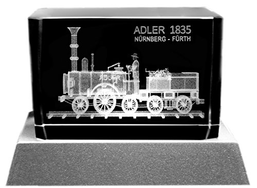 Kaltner Präsente Stimmungslicht - Das perfekte Geschenk: LED Kerze/Kristall Glasblock / 3D-Laser-Gravur Eisenbahn Dampflokomotive Adler