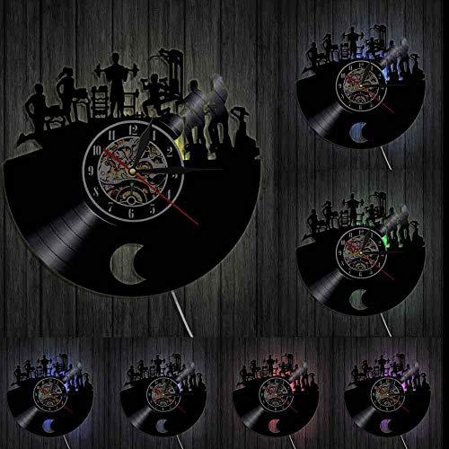 Gimnasio Reloj de pared Fitness Vintage Vinilo Record Reloj Culturista Decorativo Reloj Deportivo Gimnasio Actividad Entrenamiento Decoración de Pared Luces LED