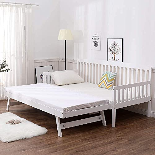 SHAKER STYLE WHITE 3FT SINGLE DAYBED WITH UNDER BED GUEST TRUNDLE , WITHOUT...