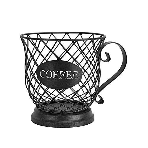 LKOER Cesta de almacenamiento para cápsulas de café, caja de almacenamiento vintage para cápsulas de café, soporte para granos de expreso, color negro