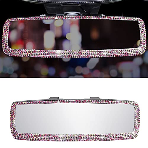 Car Interior Rearview Mirror Easy Clip on Wide Angle Panoramic Blind Spot Fit Auto Interior Rearview Mirror Stretchable Car Rear View Mirror Crystal Diamond Automotive Interior Mirrors (Pink)