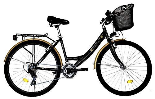 T 26 Zoll Kinder Mädchen Damen City Fahrrad Damenfahrrad Cityfahrrad Citybike Mädchenfahrrad Bike Rad 21 Gang 5100 Schwarz
