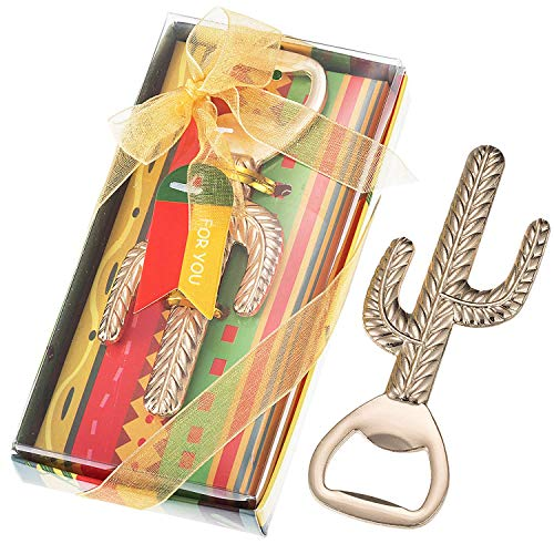 36 Pcs Mexican Party Favors Cactus Beer Bottle Opener, Cactus Llama Party Souvenir, Mexican Fiesta Wedding Baby Shower Party Gift Game Prize Keepsake, Individually Packaged, NO DIY Required (Gold)